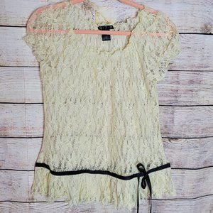Lace Top with Black Trim